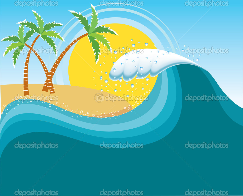 Big wave near tropical sun island.Vector water background