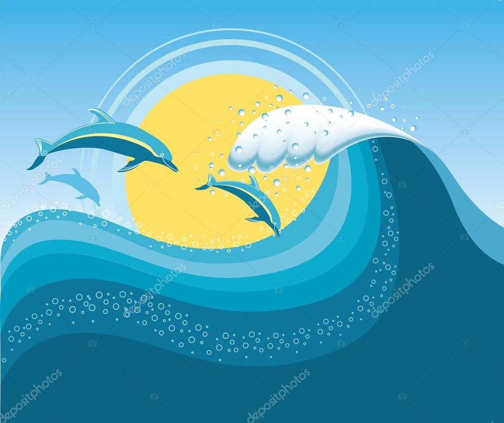 Dolphins in blue sea wave.Vector cartoons seascape.Mesh