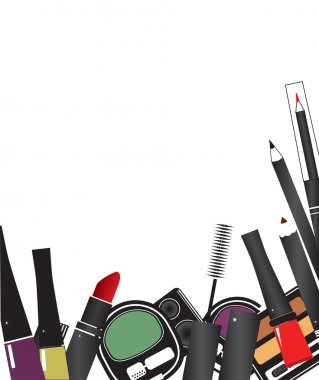 Vector illustrations of make up cosmetics isolated on a white ba