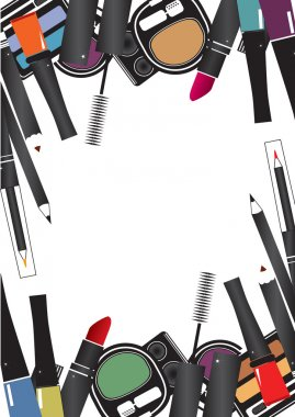 Vector illustrations of cosmetics isolated make up on a white ba