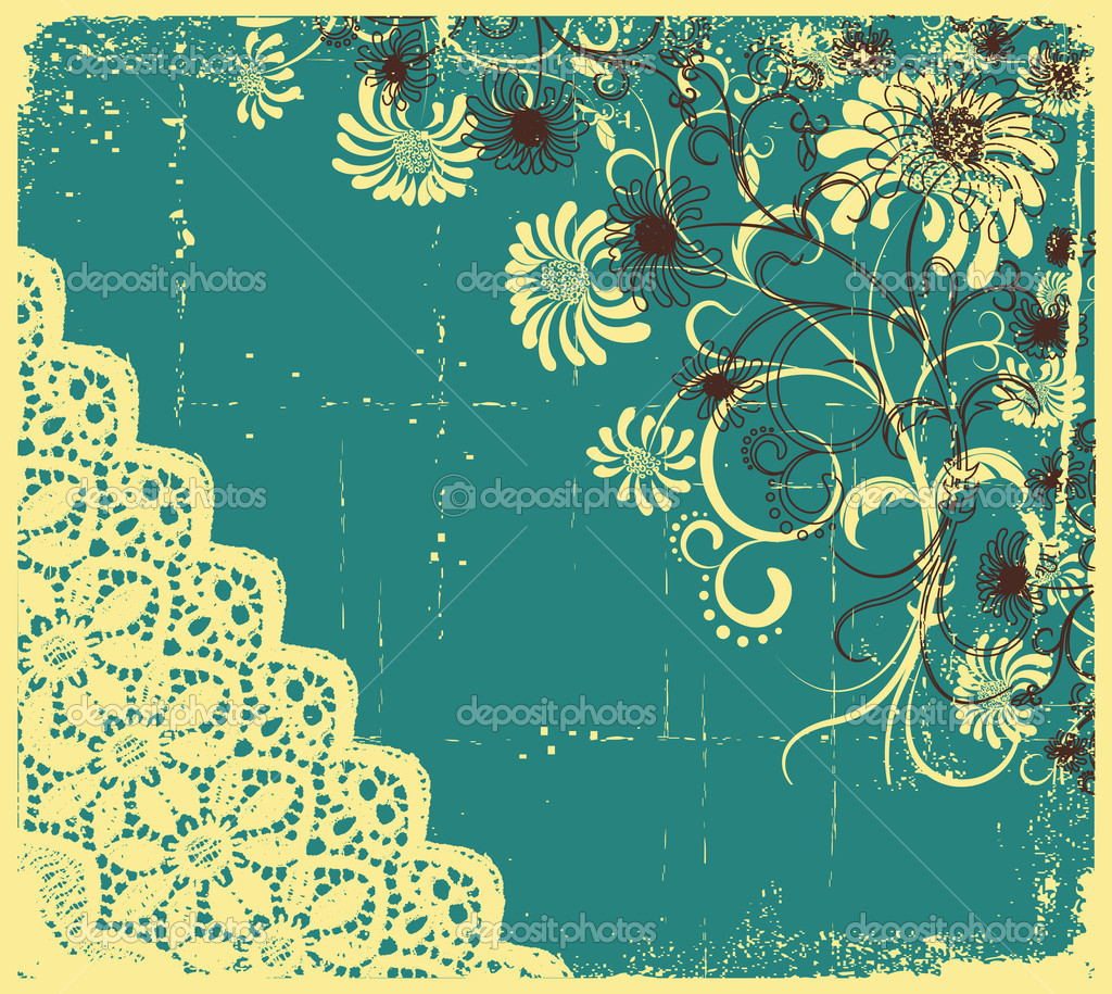 Vintage floral with grunge decoration .Flowers background