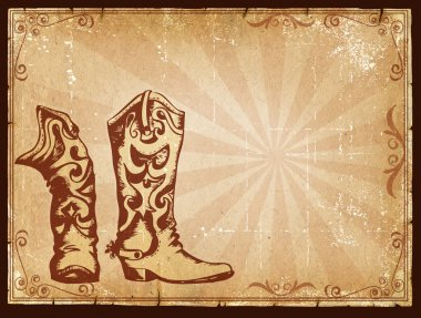Cowboy old paper background for text with decor frame .