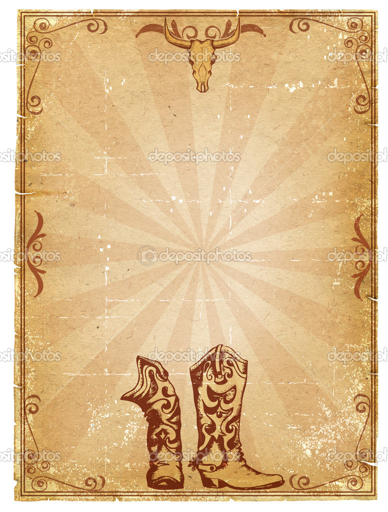 Cowboy alte Papierhintergrund für Text mit Dekor-Rahmen — Stockfoto ...