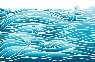 Blue waves.Vector image of Sea background for design