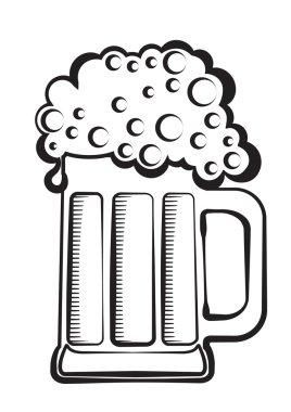 Beer.Vector black graphic Illustration of glass on white