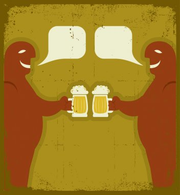 Two men with glasses of beer who toast.Grunge