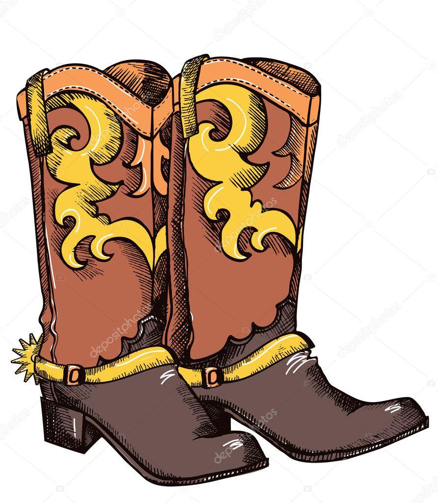 Botas de vaquero .vector imagen en color de zapatos para toda la vida  vaquero — Vector de GeraKTV f675a8732df