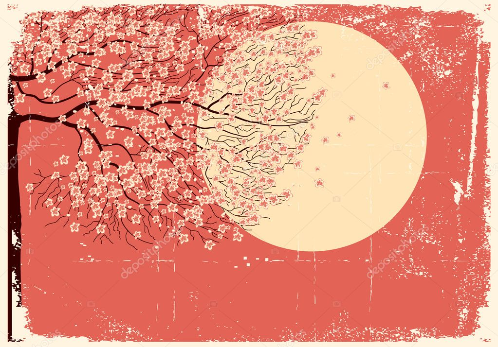 Flowing Sakura tree.Grunge image