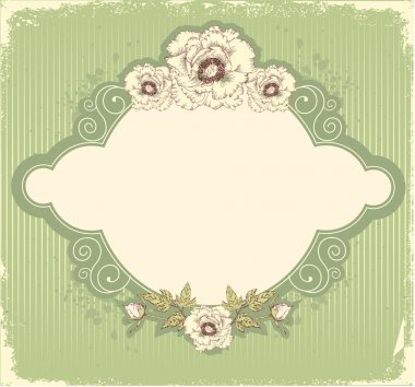 Vintage floral postcard .Flowers background for text