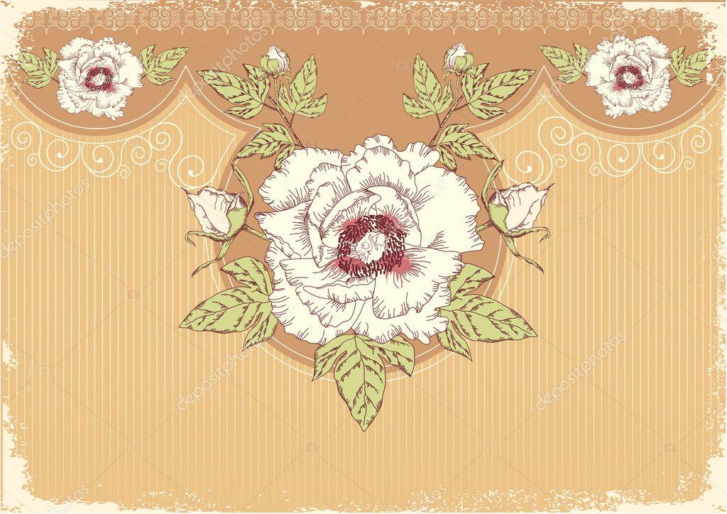 flowers postcard with peonies