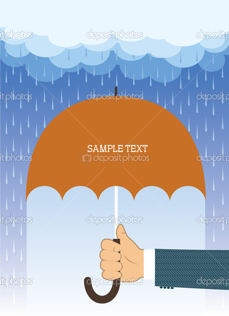 Hand holding umbrella under big rain.Vector background for text