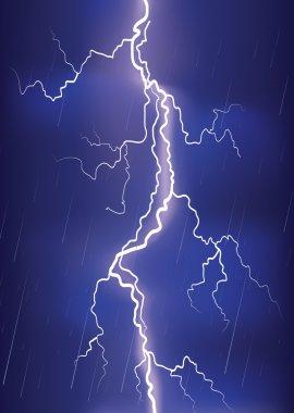 Lightning strike on dark blue sky.Vector rain image