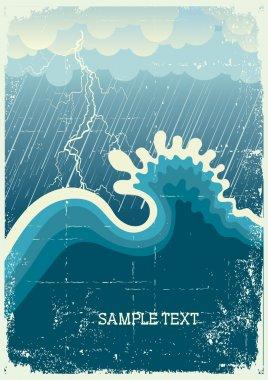 """Картина, постер, плакат, фотообои """"Шторм в океане с большой волны и ударов молнии"""", артикул 6034425"""
