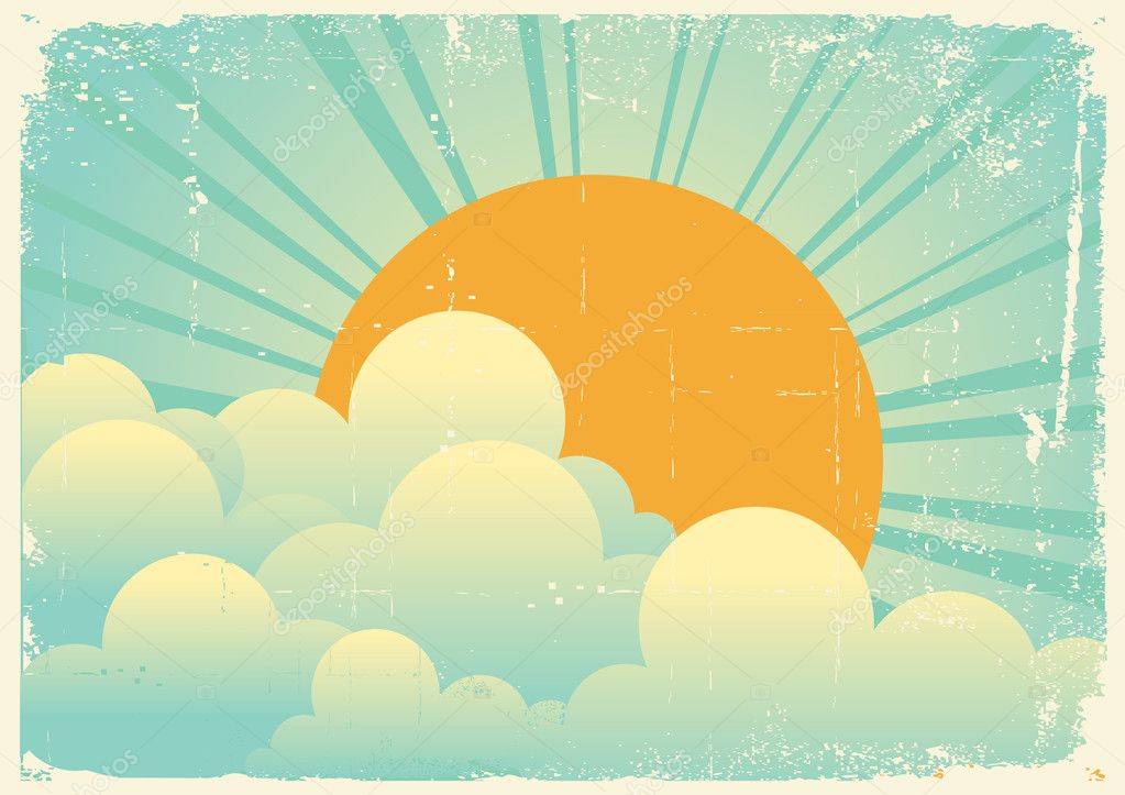 sky with beautifull clouds.Vector vintage cloudscape