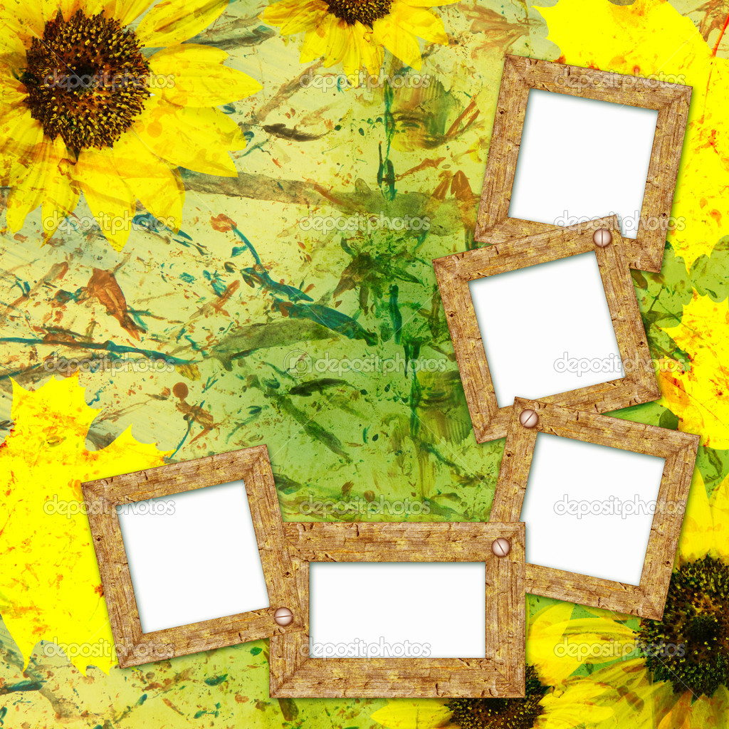 Autumn background with frames