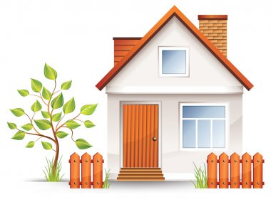 Small house with nice green court yard and fence, vector illustration stock vector
