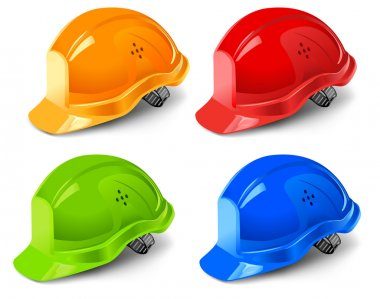 Multi-coloured helmets isolated on white background, vector illustration stock vector