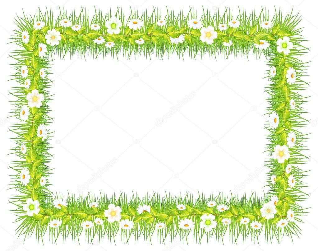 Rahmen mit Gras & Blumen — Stockvektor © creatOR76 #6210848