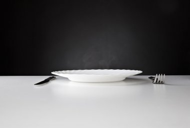Plate, knife and fork