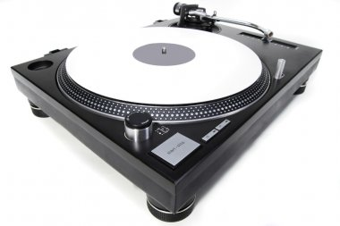 Isolated turntable with white vinyl record