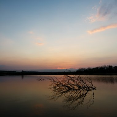 Tranquil scene of sunset at the lake