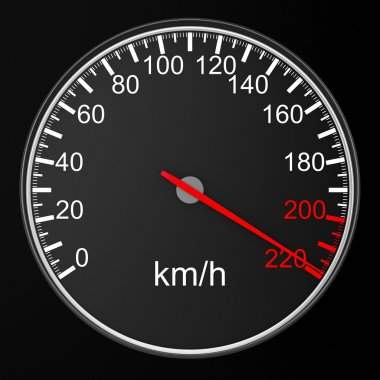 Speedometer on black background. 3D image