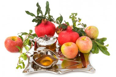 Pomegranates, honey with ripe fresh apple for Rosh Hashana