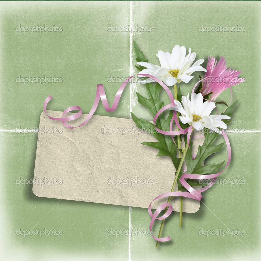 Retro card for congratulation or invitation with flowers