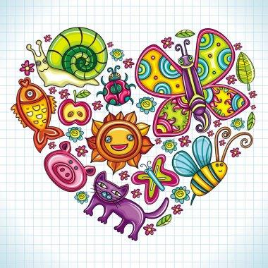 Flora and fauna theme heart.