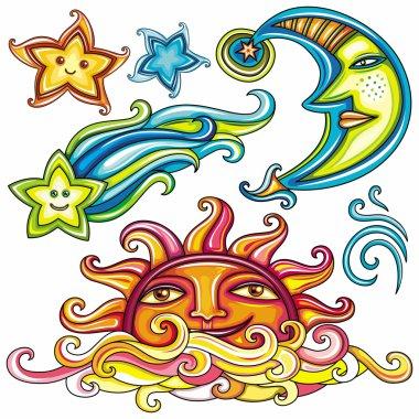 Celestial symbols: sun, moon, star, comet