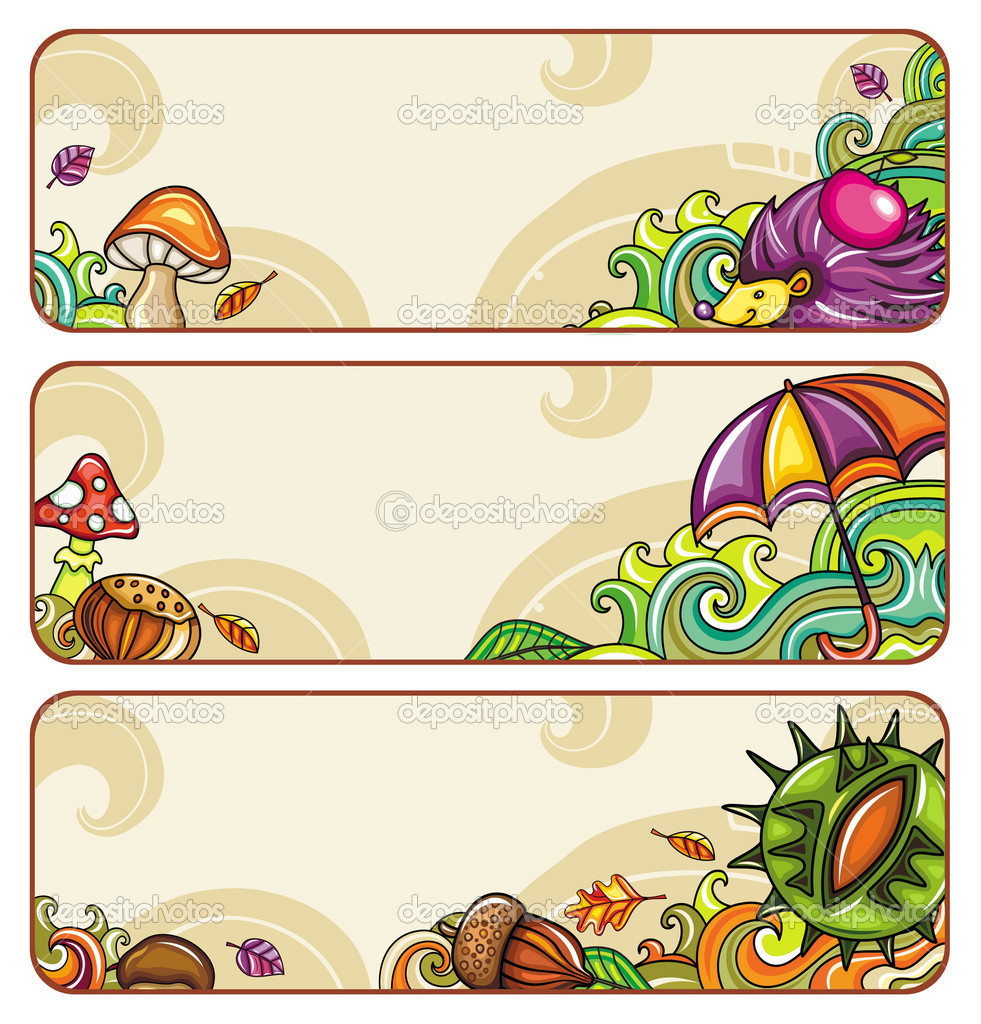 Vector set of decorative autumnal banners.2