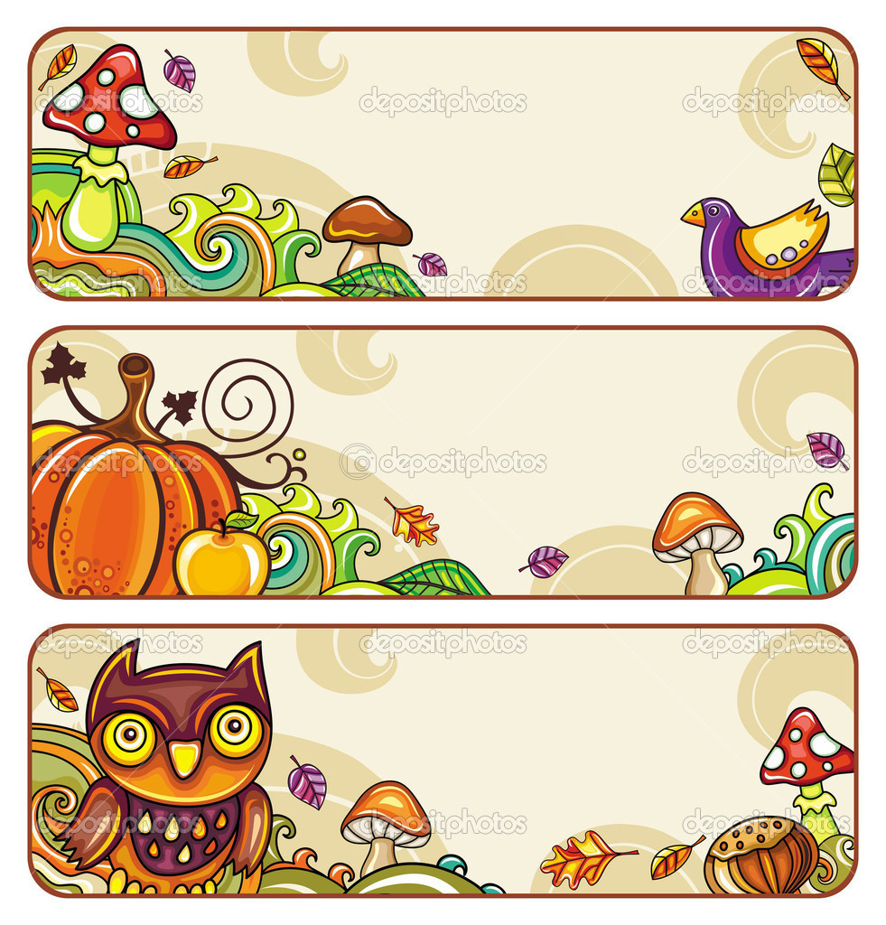 Vector set of decorative autumnal banners.1