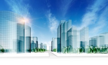 Glass city. Abstract 3d render stock vector