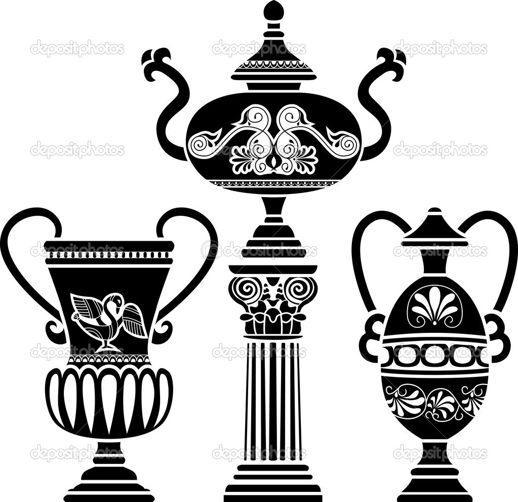 Ancient greek vase stock vector kristino0702 5501441 ancient greek vase on column stencil set third variant vector by kristino0702 reviewsmspy