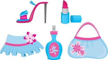 Female shopping icons set