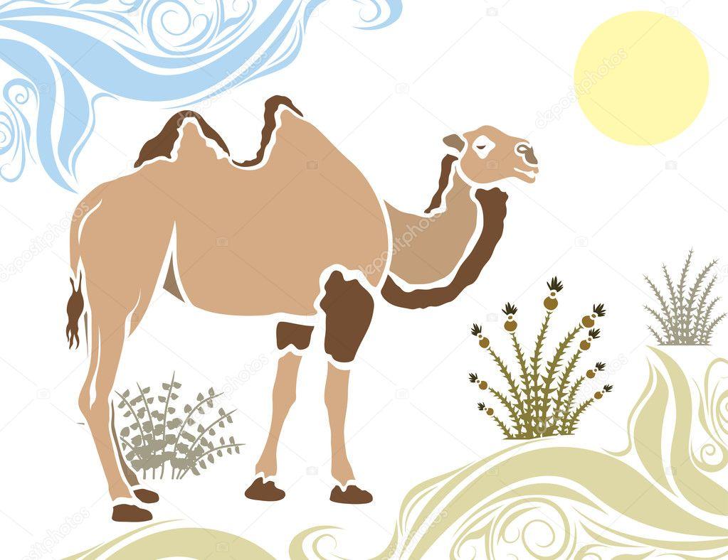 camello en la plantilla del desierto — Vector de stock ...