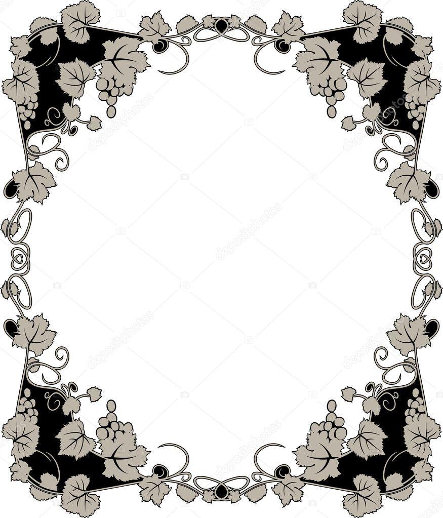 anmutige Weinrebe Rahmen — Stockvektor © kristino0702 #6467267