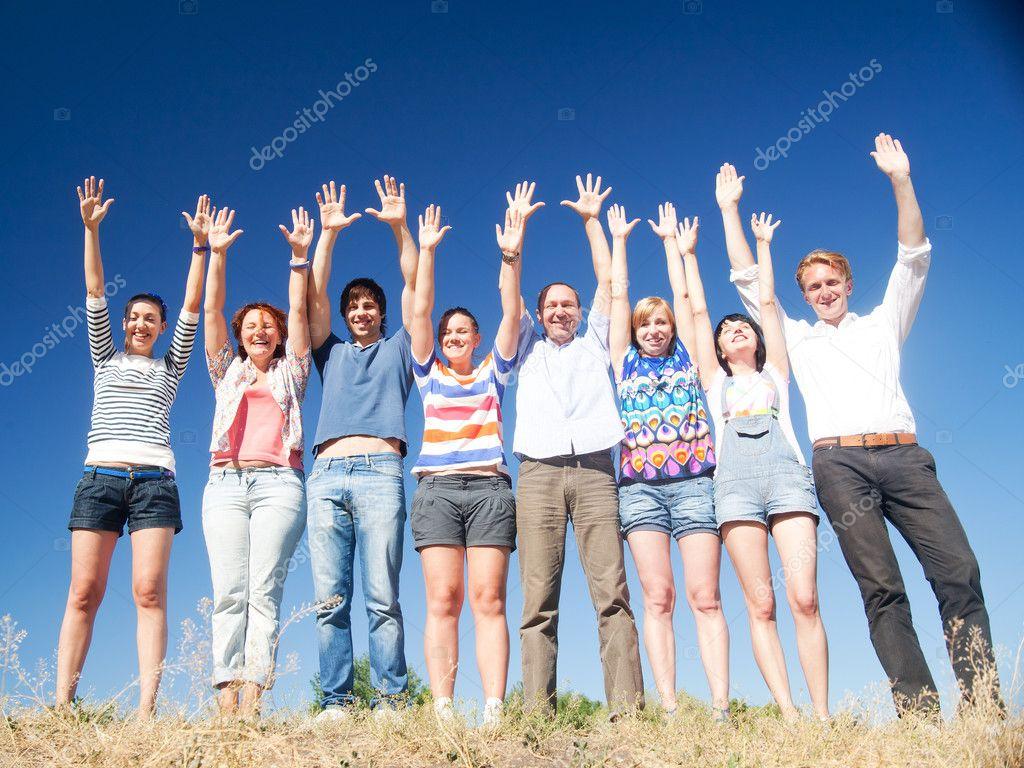 raise hands across blue sky