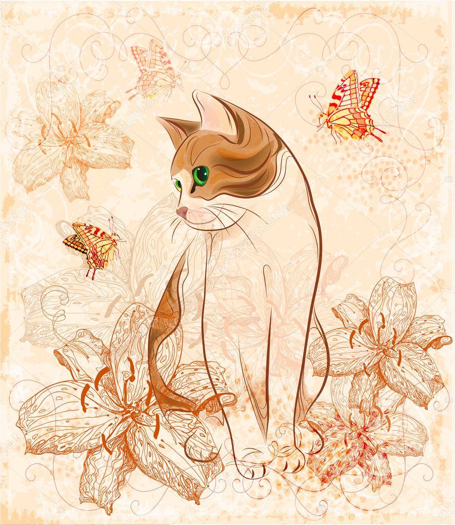 Tarjeta de cumplea os vintage con gato y lirios vector for Imagenes retro vintage