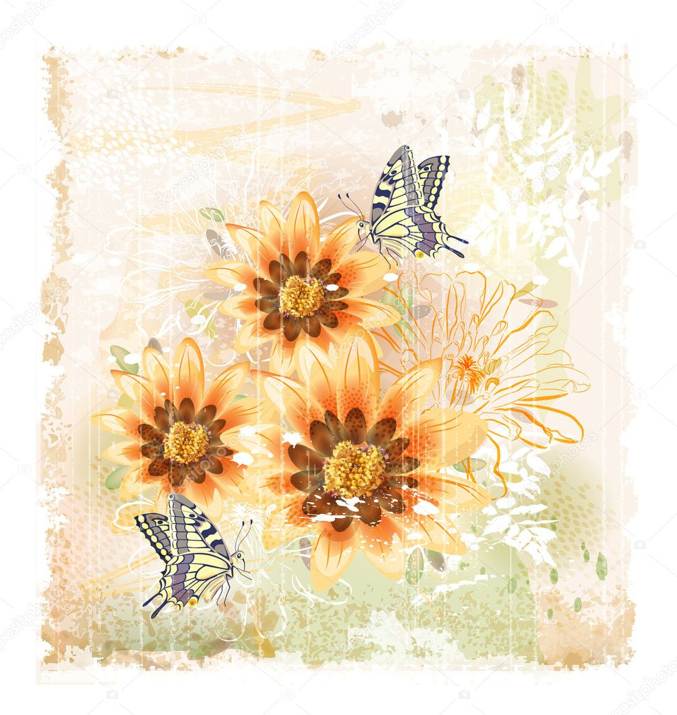 Yellow field flowers and butterflies