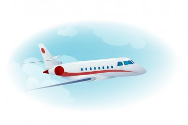 Passenger airplane in the cloudy blue sky