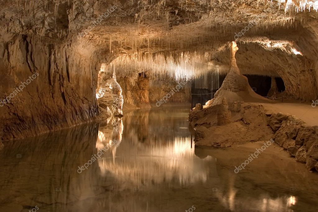 Underground lake in a grotto
