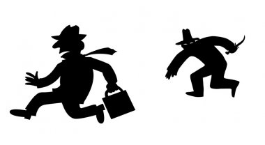 Vector silhouette bandit on white background