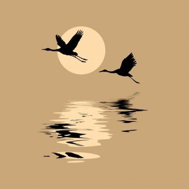 """Картина, постер, плакат, фотообои """"векторные силуэты летающие краны на фоне солнца """", артикул 6600156"""