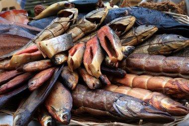 Smoked fish on rural market
