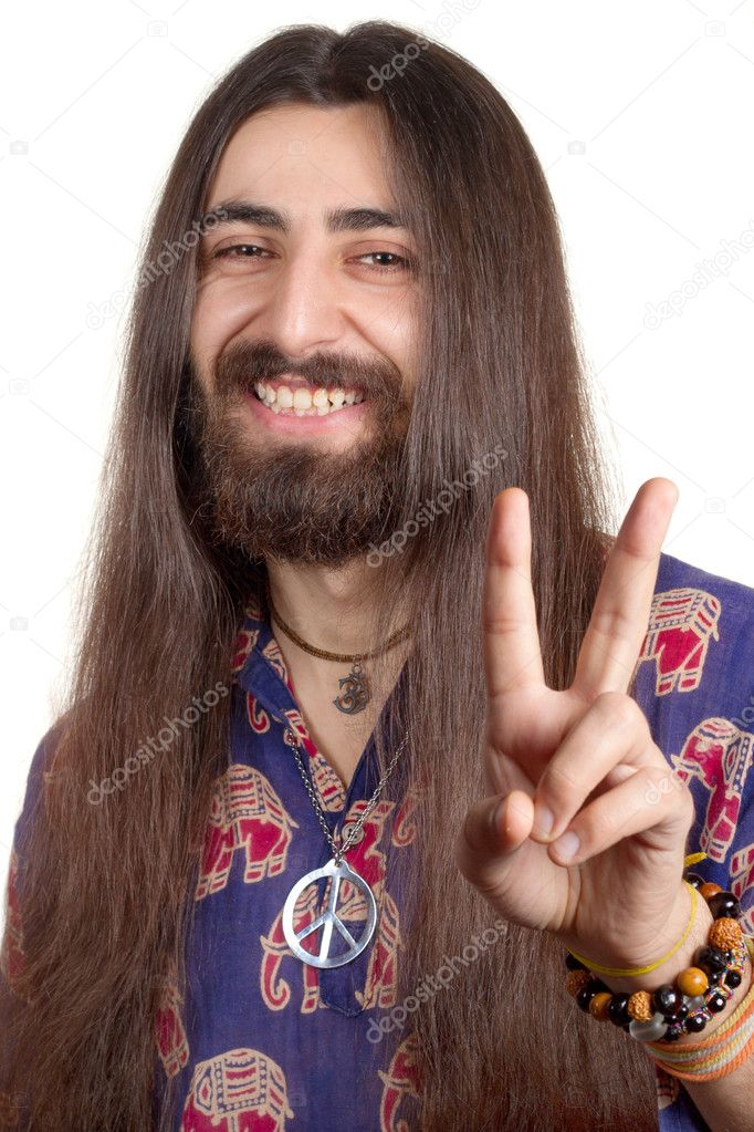 Friendly Hippie With Long Hair Making Peace Sign Stock Photo 169 Mazzzur 6001542