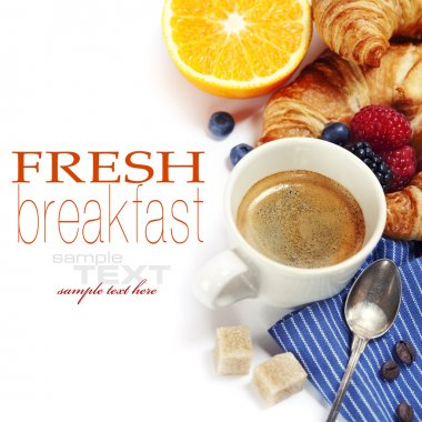 Delicious breakfast with fresh coffee, fresh croissants and fruits (with sample text) stock vector
