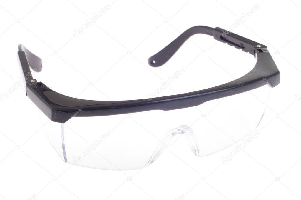 f680f3b70 Claro pretos óculos de segurança para o profissional/paciente (equipamentos  de saúde para prevenir a infecção cruzada) isolado no branco — Foto de ...