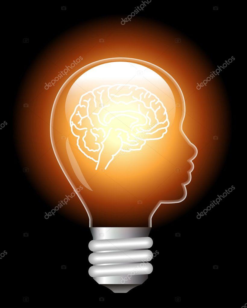 Brain lamp — Stock Vector © ipetra #6186554
