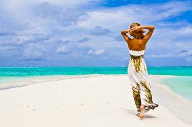 Beautiful young woman walking alone on a beach